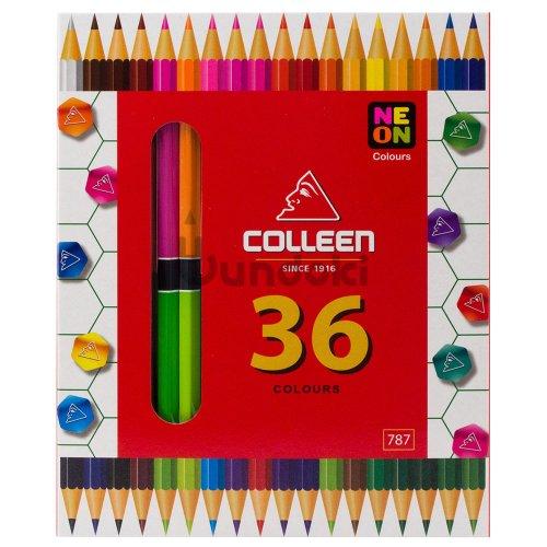 【コーリン色鉛筆/colleen】787六角 18本36色紙箱入り色鉛筆