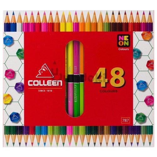 【コーリン色鉛筆/colleen】787六角 24本48色紙箱入り色鉛筆