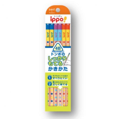【TOMBOW/トンボ鉛筆】ippo!・かきかたえんぴつしっかり持てる三角軸014B (4B)