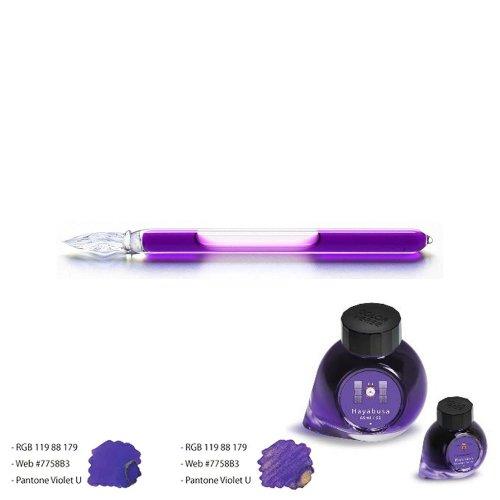 【ガラス工房まつぼっくり】ガラスペンCIP +カラーバースインクセット (ハヤブサ/紫)