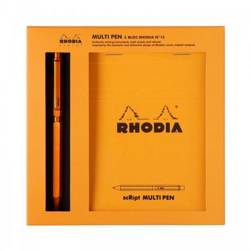 【Rhodia/ロディア】scRipt/スクリプト マルチペン&ブロックロディアNo.13 セット(オレンジ)