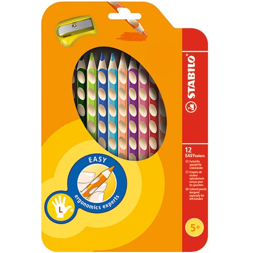 【STABILO/スタビロ】EASY colors 三角軸色鉛筆(左利き用・12色入り)