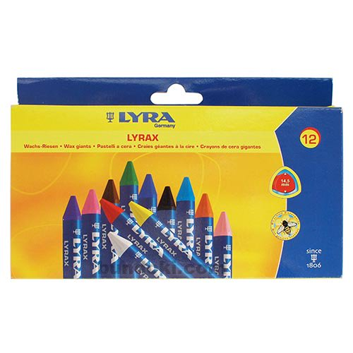 【LYRA/リラ】ワックスジャイアントクレヨン LYRAX 12色入り/5701120