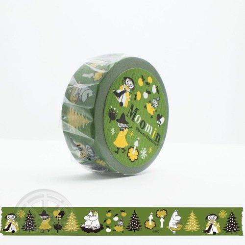 【有限会社くま/KUMA】ムーミンマスキングテープ・ムーミン谷の仲間たちシリーズ(オリーブ)
