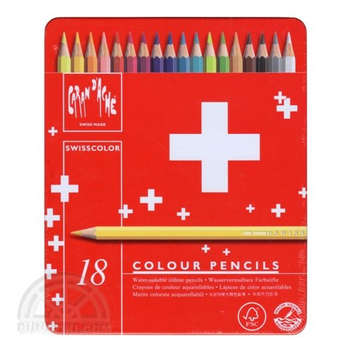 【CARAN D'ACHE/カランダッシュ】スイスカラー色鉛筆レッドメタルボックス(18色入り)