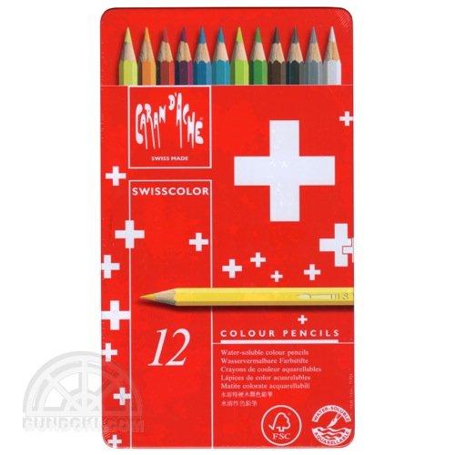 【CARAN D'ACHE/カランダッシュ】スイスカラー色鉛筆レッドメタルボックス(12色入り)