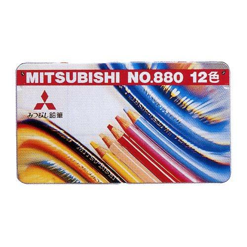 【三菱鉛筆/MITSUBISHI】880 12CP/鉛筆ワイド色鉛筆12色【金箔押し名入れ】