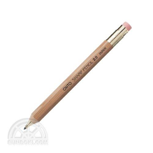 【OHTO/オート】木軸シャープ消しゴム付き 2.0mm(ナチュラル)