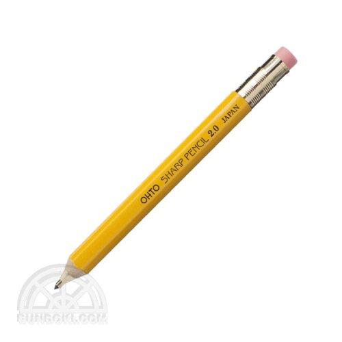 【OHTO/オート】木軸シャープ消しゴム付き 2.0mm(イエロー)