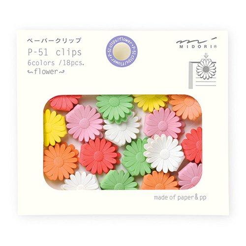 【MIDORI/ミドリ】ペーパークリップ/P-51 クリップス(花柄)