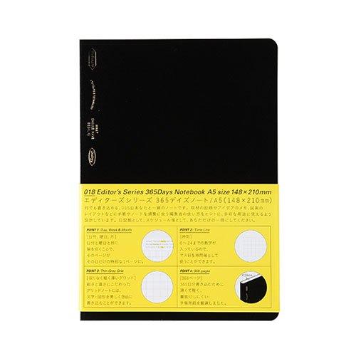 【STALOGY】018 エディターズシリーズ 365デイズノート (A5/ブラック)