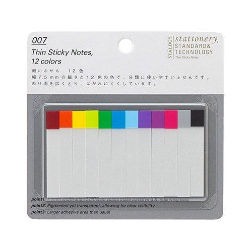 【STALOGY】007 Thin Sticky Notes/細いふせん 12色