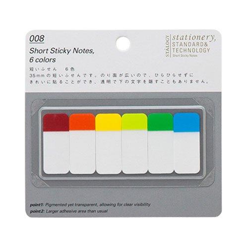 【STALOGY】008 Short Sticky Notes/短いふせん 6色(A)