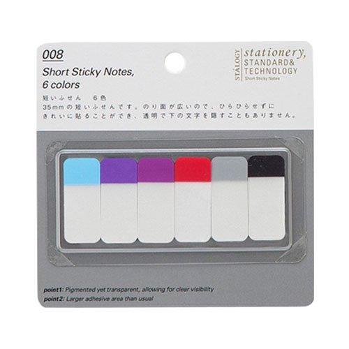 【STALOGY】008 Short Sticky Notes/短いふせん 6色(B)