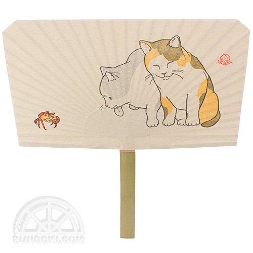 【倉敷意匠】木版摺 丸亀竹うちわ(子猫と沢蟹)