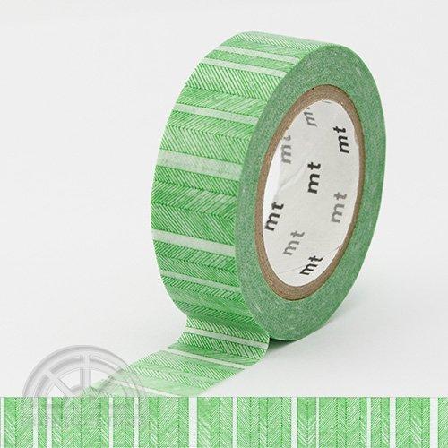【カモ井加工紙/KAMOI】mtマスキングテープ/手描きボーダー・グリーン