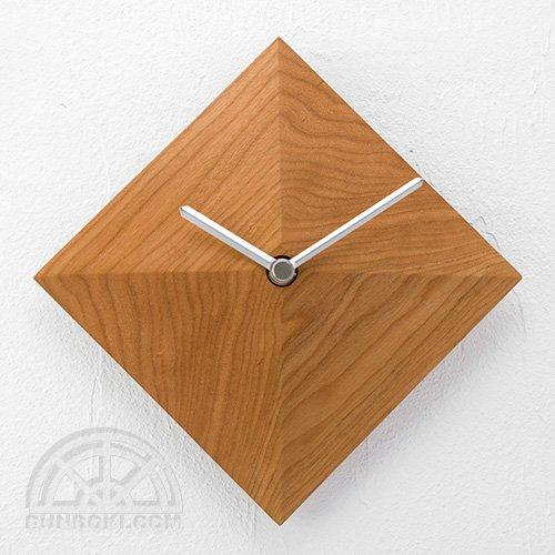 【高橋工芸】Wall Clock 四角錐(チェリー)