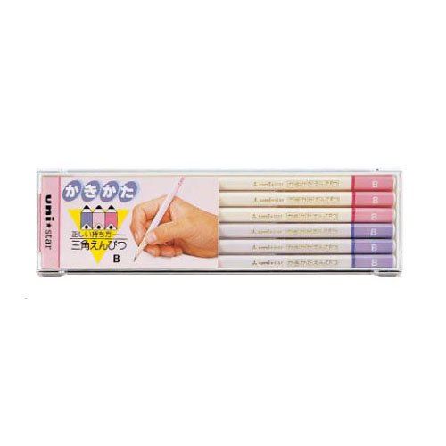【三菱鉛筆/MITSUBISHI】uni☆star 三角かきかた鉛筆 ピンク/3K ピンク【名入れ】