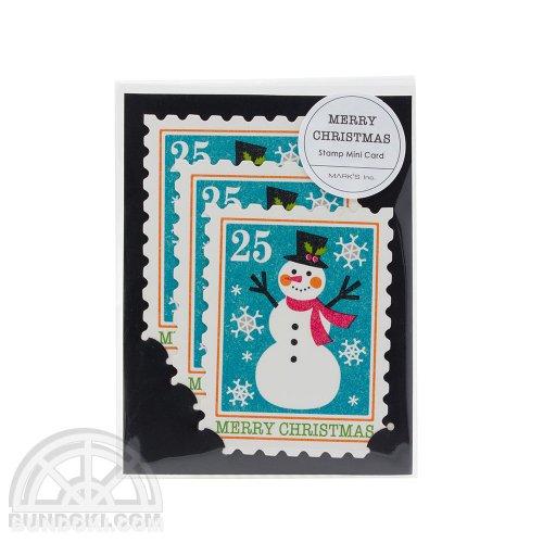 【Mark's/マークス】スタンプ3枚セット・ミニ/クリスマスカード(スノーマン)
