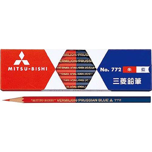【三菱鉛筆/MITSUBISHI】朱藍鉛筆(5:5)六角