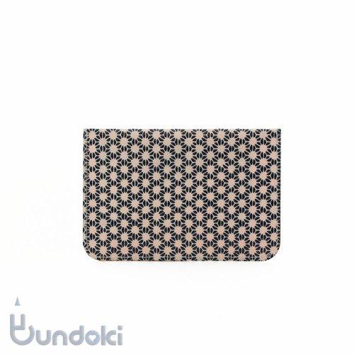 【SIWA・紙和】URUSHI パスケース/古典柄・麻の葉 (ピンク/紺)