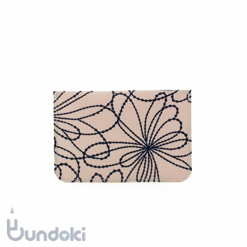 【SIWA・紙和】URUSHI パスケース/古典柄・線菊 (ピンク/紺)