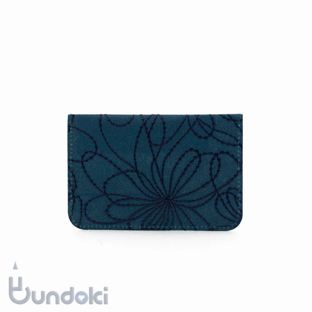 【SIWA・紙和】URUSHI パスケース/古典柄・線菊 (ブルー/紺)