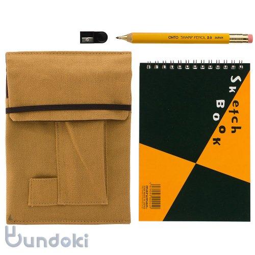 【OHTO/オート】木軸シャープ2.0mm・ミニスケッチブックセット(イエロー/ブラウン)