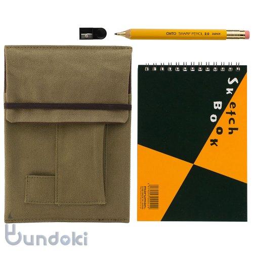 【OHTO/オート】木軸シャープ2.0mm・ミニスケッチブックセット(イエロー/カーキ)
