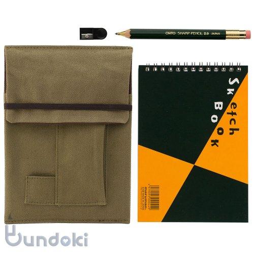【OHTO/オート】木軸シャープ2.0mm・ミニスケッチブックセット(グリーン/カーキ)