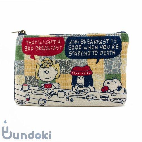 【サンスター文具】畳み刺繍ペンポーチ・フラットタイプ (スヌーピー 食事)