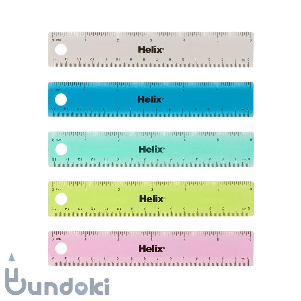 【Helix/ヘリックス】Tinted Ring Binder Rulers /ミリインチ定規 (6インチ/15センチ)