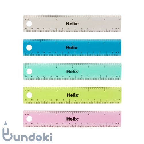 【Helix/ヘリックス】Tinted Ring Binder Rulers /ミリインチ定規 (6インチ/15センチ)