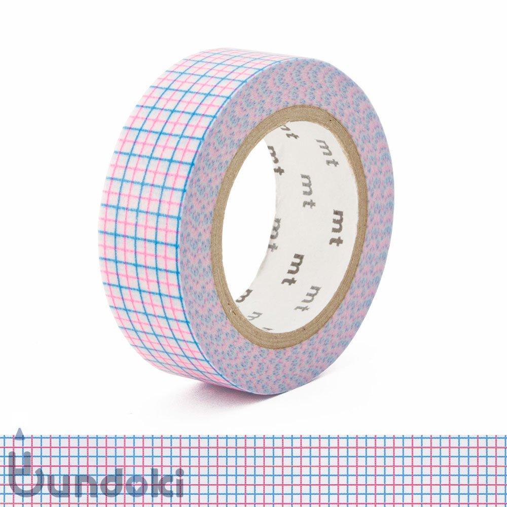 【カモ井加工紙/KAMOI】mtマスキングテープ/方眼・ショッキングピンク×ショッキングブルー