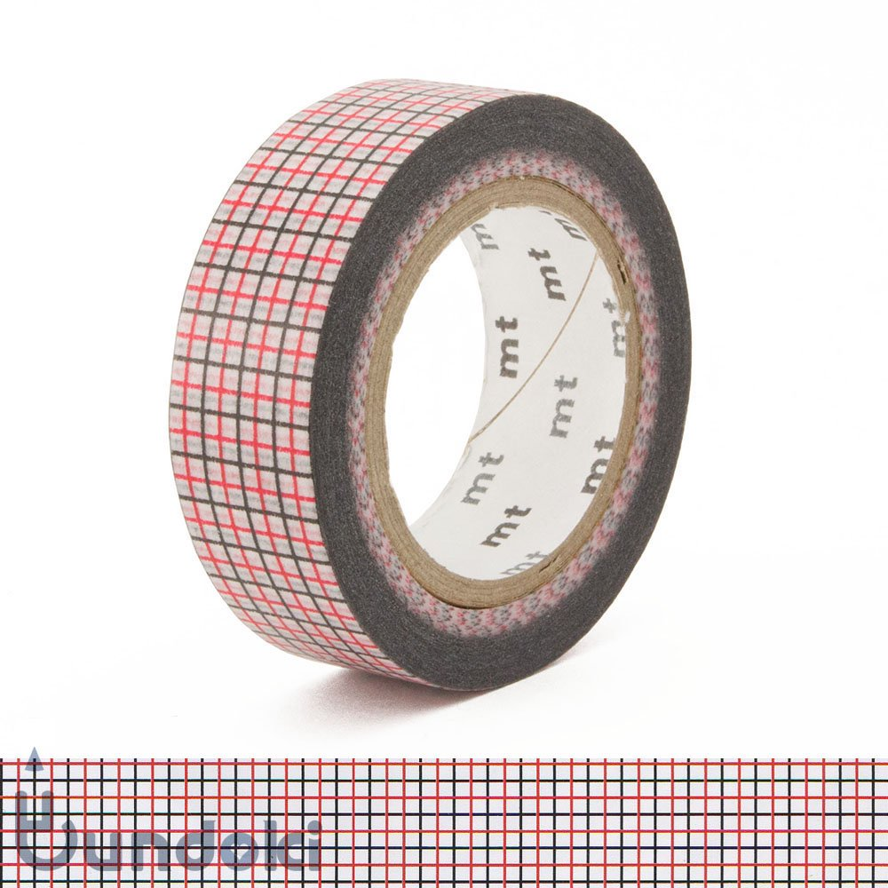 【カモ井加工紙/KAMOI】mtマスキングテープ/方眼・赤×黒