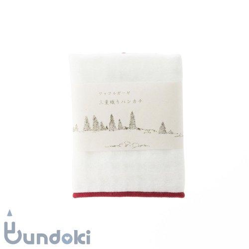 【倉敷意匠】ワッフルガーゼ 三重織りミニハンカチ(白×葡萄色)