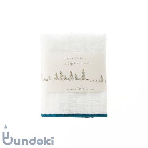 【倉敷意匠】ワッフルガーゼ 三重織りミニハンカチ(白×鉄色)