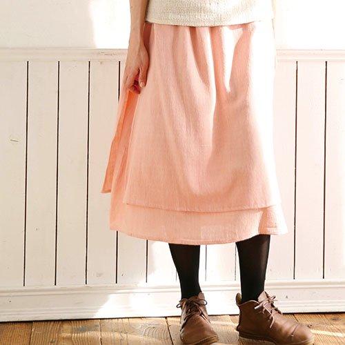 やわらか綿布のショート丈ダブルスカート