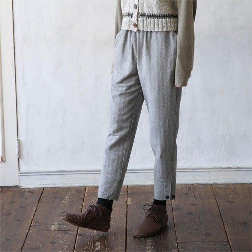 杉綾織裾ボタンパンツ