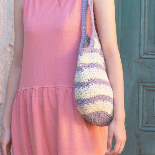 さき編みボーダーバッグ
