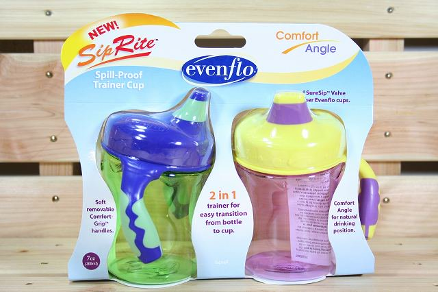 フィーディングボトル  SipRite Spill-Proof Trainer Cup Green&Purple