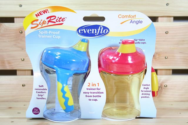 フィーディングボトル  SipRite Spill-Proof Trainer Cup Blue&Yellow