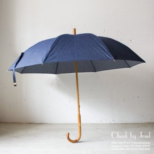 Traditional Weatherwear 晴雨兼用長傘 LONG UMBRELLA RATTAN GOLD シャンブレーブルー