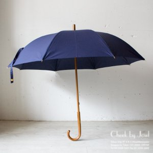 Traditional Weatherwear 晴雨兼用長傘 LONG UMBRELLA RATTAN GOLD インクブルー