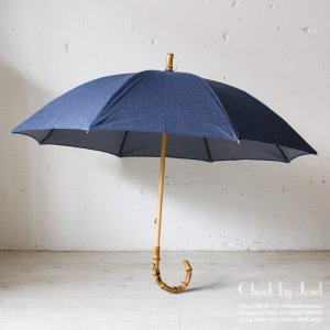 Traditional Weatherwear 晴雨兼用長傘 UMBRELLA BAMBOO GOLD シャンブレーブルー