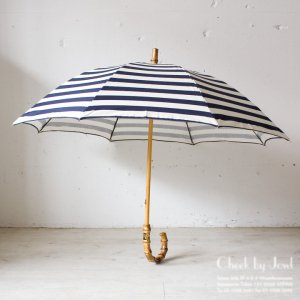 Traditional Weatherwear 晴雨兼用長傘 UMBRELLA BAMBOO GOLD ネイビー×オフ
