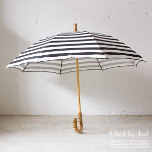 Traditional Weatherwear 晴雨兼用長傘 UMBRELLA BAMBOO GOLD ブラック×ホワイト