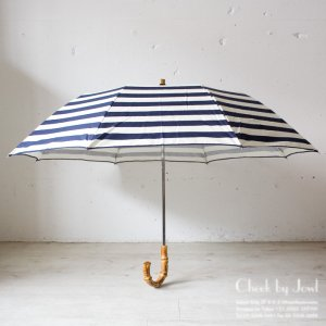 Traditional Weatherwear 晴雨兼用折りたたみ傘 FOLDING UMBRELLA BAMBOO ネイビー×オフ