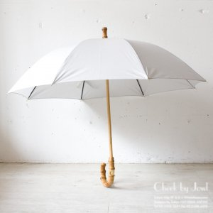 Traditional Weatherwear 晴雨兼用長傘 UMBRELLA BAMBOO GOLD ライトグレー
