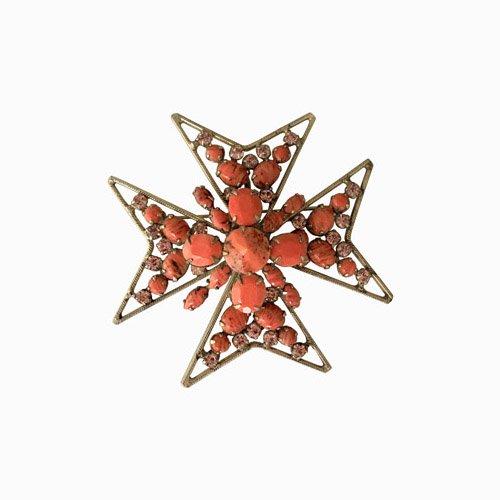 Schreiner orange maltese cross pendant brooch mozeypictures Choice Image